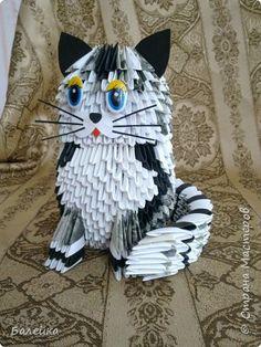 Поделка изделие Оригами китайское модульное Кошечка Бумага фото 1