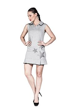 Women's Sleeveless Polo Collar Shirt Mini Shift Dress with Star Rhinestones (Grey) LuckyBEBE http://www.amazon.com/dp/B01DSRFDR6/ref=cm_sw_r_pi_dp_abXaxb1SYAVSN
