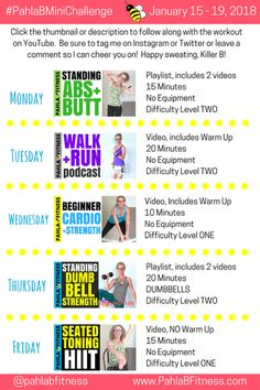 Here we are, cruising into the third week of January already, Killer Bs, and I've got a fabulous new Mini Challenge for you! No matter your fitness level, there's a workout routine tha… 5 Day Workout Plan, Workout Plans, January 15, You Fitness, Minion, Abs, Challenges, How To Plan, Youtube