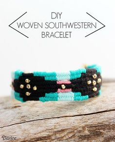 Learn how to make your own custom DIY woven bracelet with this step by step tutorial. I made a southwestern design but the design options are endless!