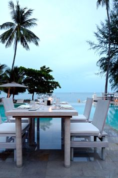 Enjoy a romantic dinner in the pool, surrounded by stunning ocean views. #Jetsetter Sala Samui Resort & Spa, Koh Samui, Thailand