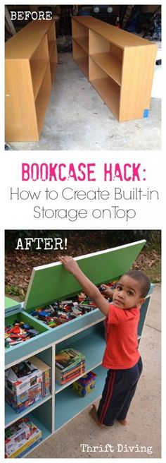 Bookcase Hack - A clever way to create storage on top of bookcases with just a few pieces of wood!