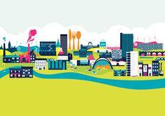 The Sheffield Skyline Bright Print Sheffield Art, Sheffield United Fc, Sheffield Steel, Sheffield Hallam University, Sheffield Wednesday Fc, Skyline Tattoo, Wedding Canvas, Best Memories, Large Prints