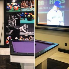"""Are you watching the Eskimos and the Lions this Friday? Maybe the Jays? Or would you rather play a few rounds of pool? In the billiards room at the showhome at 23 Windermere by @platinumsignaturehomes and @flaunt_interiors, you can watch the game on the 120"""" projector screen while you get in a few rounds of 8-Ball. Billiard Room, Windermere, Would You Rather, Home Theater, Arcade Games, Game Room, Lions, Friday, Interiors"""