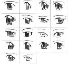How to draw anime eyes | This image show some examples of how to ...