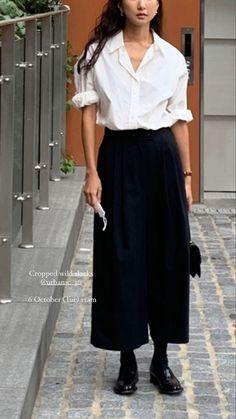 Casual Outfits, Fashion Outfits, Womens Fashion, Cullottes, Japan Fashion, Minimal Fashion, Mode Inspiration, Everyday Fashion, Korean Fashion