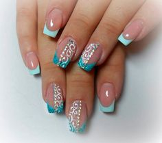 Boon nails with rhinestones, Delicate french manicure, Fashion nails 2016, French manicure with pattern, French manicure with pictures, French manicure with rhinestones, French nails with a drawing, French patterned manicure