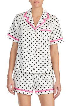 Women's Kate Spade New York Short Sateen Pajamas, Size X-Large - White Cozy Pajamas, Pyjamas, Night Wear Lingerie, Pink Silk Pajamas, Cute Sleepwear, Night Suit, Pajama Shorts, Pajamas Women, Nightwear