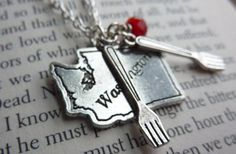 Forks, Washington Charm Necklace Twilight Inspired via Etsy $18.00  This is fun if you want to proclaim your Twilight love without shouting it.