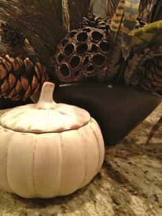 Painted pumpkin in Old White over Coco, with dark wax.