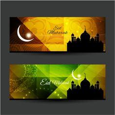 Amazing Cool Banners Of Eid Mubarak Vector
