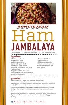 What better way to use your leftover ham from HoneyBaked Ham Douglasville than to make a delicious Ham Jambalaya! Leftover Honey Baked Ham Recipe, Leftover Ham Recipes, Leftovers Recipes, Honey Recipes, Pork Recipes, Cooking Recipes, Rice Recipes, Chicken Recipes, Unique Recipes