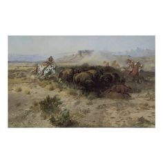 Buffalo Hunt No. 26 by CM Russell, Vintage Indians Posters