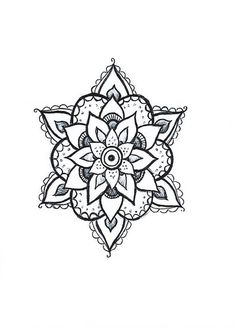 Floral Henna Style Mandala Hand Drawn Geometric Temporary Tatto