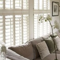 Modern White Living Room Design Ideas - Image 03 : Gray Cozy Sofa with Pillows and White Plantation Shutters