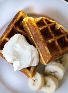 Fluffy Gluten Free Waffles - didn't add the xanthan gum, added a 1/4 cup of puréed sweet potato and used coconut oil. They were yummy!