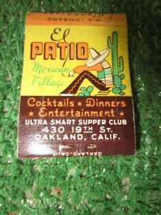 El Patio Mexican Village El Morocco's Zebra Lounge 15th Harrison Oakland Sleeping Mexican Matchbook (empty) kitschy #kookykitsch
