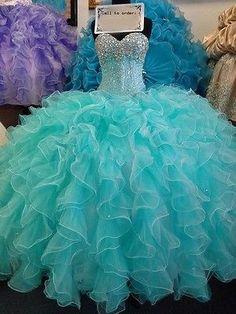 Nuevo 2016 Aqua Beaded Prom Fiesta Boda Bola Vestido De Quinceañera Vestidos Personalizado
