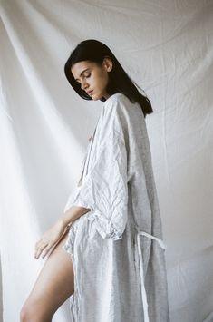 the 02 full length robe in pinstripe