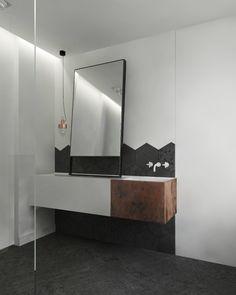 łazienka heksagony miedź