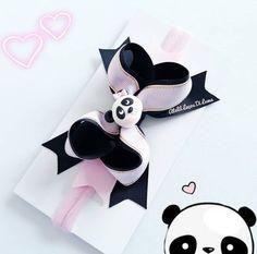 Fast And Easy Projects - How to Make Hair Clips? Ribbon Crafts, Ribbon Bows, Baby Bows, Baby Headbands, Polymer Clay Ring, Baby Hair Bands, Panda Party, Making Hair Bows, Diy Bow