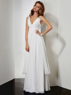 cbbf2f6ba56 A-line Princess Sleeveless V-neck Beading Floor-length Chiffon Dresses
