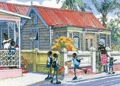 """Early morning on Hindsbury Road - An oil paint print by Jill Walker of a church and the congregation near to the east coast of Barbados. Print size 23.5"""" w x 20""""h"""