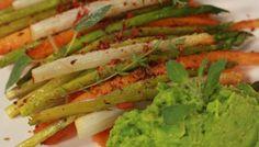Puree van zoete aardappel met gegrilde groenten