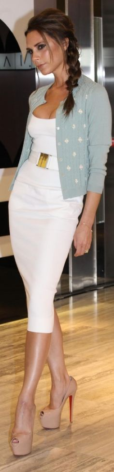 ~white dress, pale blue cardigan & nude platform heels. Can totally recreate Victoria's gorgeous style. Love this look. *