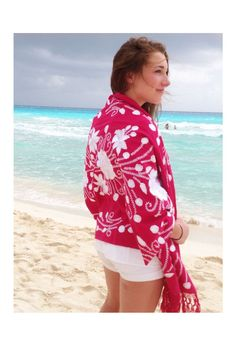 Acatlan Rebozo Pink with White Embroidery