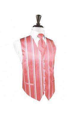 Guava Striped Satin Tuxedo Vest