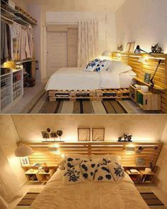 Pallet under and behind bed with lights. Warm and luminous :)