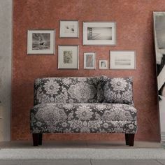 Briley Belmont Metal Grey Print Armless Loveseat - Free Shipping Today - Overstock.com - 20003025 - Mobile