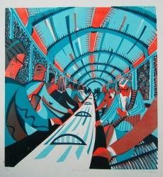 Escalator Talk linocut print by Paul Cleden Linocut Prints, Art Prints, Wood Engraving, Print Artist, Wood Print, Art Lessons, Printmaking, Contemporary Art, Modern Art
