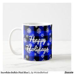 Coffee Mug Snowflake Buffalo Plaid Blue l Happy Holidays By WickedRefined #christmas #holidays #christmasgifts #holidaydecor #decorations #zazzle #mugs