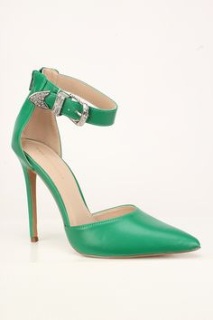 Step out in style! These cuties are a must have. Featuring, a matte faux leather fabric, buckle ankle accent, a back zipper closure, and a cushioend foot bed. Approximately 4 inch heel. High Heel Pumps, Pumps Heels, Stiletto Heels, Flats, Sandals, Spring Shoes, Summer Shoes, Pink And Green Dress, Green High Heels