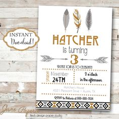 INSTANT DOWNLOAD - Black Gray Grey Mustard Yellow Tribal Birthday Party Invitation - Feather Aztec Birthday - Arrows Pow Wow Feather Boho by JanePaperie on Etsy https://www.etsy.com/listing/251087502/instant-download-black-gray-grey-mustard