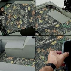 Styx River Camo Neo-Mats for TRACKER GRIZZLY 1548 MVX Sportsman Jon Boat - Kit (Front, Rear & Floor Mat) - Mossy Oak Break-U