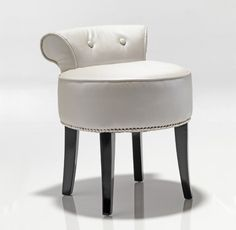 blackordhidinteriors.co.uk  Luxury White Pearl Dressing Table Stool Furniture Seating Stool Leather White