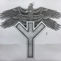 #huginn & #muninn #raven #runes #algiz #norse #symbol #pagan #vikings #futhark #spiritual #protection #neofolk #stronghold #art #strongholdtattoo #dotwork #ink #marcinbrzezinski #london #tattoo #newtattoo #blackwork #tattoos #instablack #iblackwork #dark #custom #customtattoo #darkart