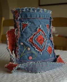 Recycled jeans handbag crafts