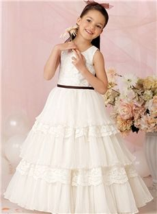 Wholesale A Line Flower Girls Dresses With Sash Tiered Ankle Length