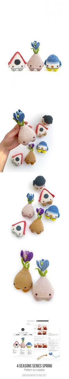 4 seasons series Spring amigurumi pattern by Lalylala Gato Crochet, Knit Or Crochet, Crochet Dolls, Crochet Baby, Amigurumi Doll, Amigurumi Patterns, Knitting Patterns, Crochet Patterns, Yarn Thread