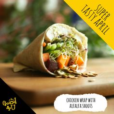 Chicken wrap filled with goodness and Alfalfa Shoots recipe! East Meals, Alfalfa Sprouts, Chicken Wraps, Food To Make, Seeds, Mexican, Tasty, Lunch, Wrap Style