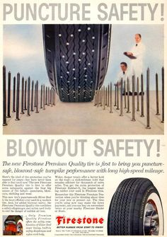Firestone employed scale to give readers a vivid look at a new product feature in this 1959 advertisement.