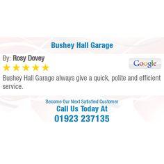 Bushey Hall Garage always give a quick, polite and efficient service. Online Reviews, Garage, Politics, Carport Garage, Garages, Car Garage, Carriage House