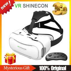 VR SHINECON 2.0 Helmet VR BOX BOBO VR Virtual Reality Google Cardboard 3D Glasses Goggles + Bluetooth Gamepad Controller Remote