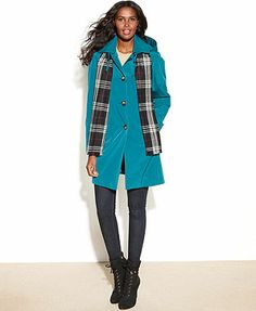 London Fog Coat, Single-Breasted Hooded Raincoat with Plaid Scarf