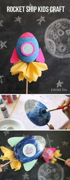 Make cute rocket ships out of paint, foam eggs, and paper. Perfect kids craft!