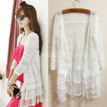 Women's Chic 3/4 Sleeve See Through Sheer Lace Cardigan Sun Block Clothes Outer Shirt